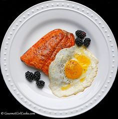 Gourmet Girl Cooks: Pan Seared Wild Alaskan Salmon & Eggs - Saturday's Gourmet Breakfast