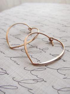 Rose gold heart hoops by OliveYewJewels Gold Hoop Earrings, Stud Earrings, Romantic Images, Silver Jewelry, Unique Jewelry, Rose Gold, Gold Heart, Glasses, Frost