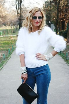 I love the clean and classy look of a woman wearing an angora garment. Fluffy Sweater, Angora Sweater, Casual Trends, Pullover, How To Look Classy, Top Photo, Women Wear, Wool, Knitting