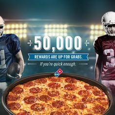 Domino's is giving away 50,000 rewards to big game fans. Score 50% off a 1-Topping Handmade Pan Pizza. Sign up to get notified about this deal.