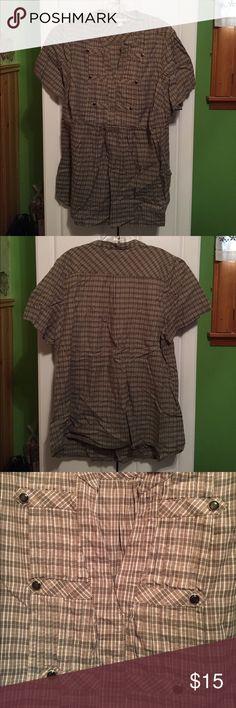 Dress Barn Olive Plaid Top Dress Barn Olive Plaid Top. Like new! Short Sleeve. Size 2X. 100% Cotton. Dress Barn Tops