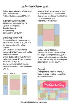 Labyrinth Charm quilt directions