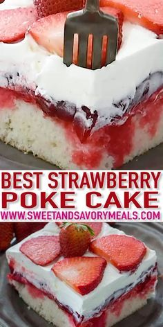 Strawberry Poke Cake is made with white cake soaked with a mixture of white chocolate strawberry sauce topped with strawberry pie filling and creamy whipped cream. The post Best Strawberry Poke Cake appeared first on Dessert Park. Food Cakes, Cupcake Cakes, Cupcakes, Strawberry Poke Cakes, Strawberry Sauce, Easy Strawberry Desserts, Easy Strawberry Shortcake, Strawberry Pie Fillings, Cake With Strawberry Filling