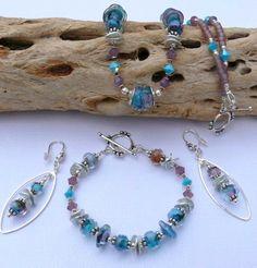 Bohemian Lampwork Sterling Silver Jewelry by VirginRiverDesigns, $195.00