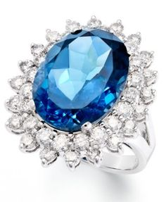 14k White Gold Ring, London Blue Topaz (12 ct. t.w.) and Diamond (1-5/8 ct. t.w.) Oval Ring | macys.com