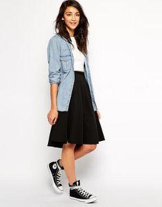 Pull&Bear Textured Midi Skirt - Black #skirt #women #covetme #pull&bear