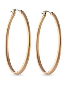 Jessica Simpson Rose Gold Oval Hoop Earrings