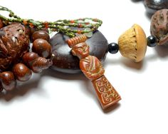Auspicious Ancient Figure Carved Dark Red by FortuneJadeJewelry, £34.00