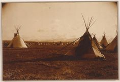 Title: Piegan encampment. Date Created/Published: c1900. Summary: Tepees with mountains in background. Photograph by Edward S. Curtis, Curtis (Edward S.) Collection, Library of Congress Prints and Photographs Division Washington, D.C.