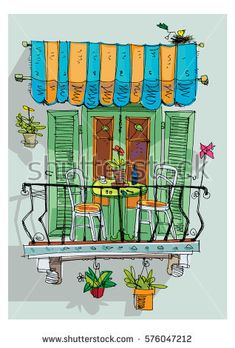 Cute vintage mediterranean balcony decorated with plants and flowers. English Projects, Balcony Flowers, Game Props, Drawing Lessons, En Stock, Happy Colors, Textile Art, Painting & Drawing, Rock And Roll