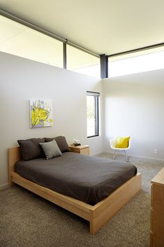 Modern bedroom in a Missouri prairie home