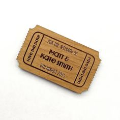 Wooden ticket style save the date magnet