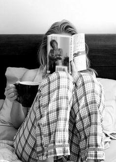 Happy Sunday Morning: self portrait idea - Favourite book, coffee, pj's