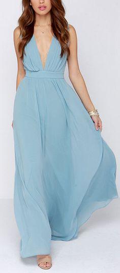 Dusty blue maxi dress