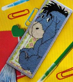 Made by Marian. Bookmark Iejoor embroidered on plastic canvas. A 'Royal Paris' cross stitch Bookmark kit.