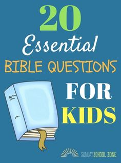 These 20 essential Bible questions for kids can be used to help children learn important basic truths. Answers and Scripture references are included. Bible Study Lessons, Bible Object Lessons, Bible Study For Kids, Kids Bible, Preschool Bible, Bible Activities, Bible Games, Church Activities, Sunday School Activities