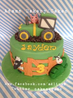 New cake! Tractor farm cake.. With farm animals a cute picket fence and tractor (mud made from choc chips) All standard cakes from Adams bakery are 3layers thick sponge for a deep cake! Happy birthday Jayden!