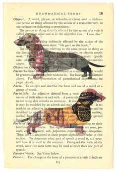 Reserved for NinaDoxie - SALE (4) Four Original Collage Print(s) of Daschund Dog Silhouettes on Old Book Text Page via Etsy