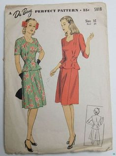 Du Barry  5818 - I want a whole closet full of the long sleeved version in tons of fabulous 40s patterns. So classic and lovely! #vintage #1940s #sewing_ptterns #dresses