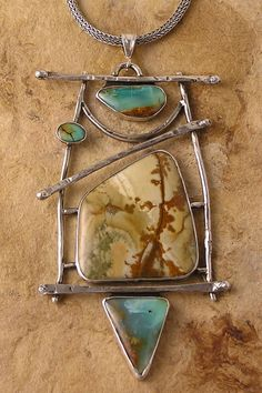 Patricia Reinking Designs, Hand-forged silver pendant set with Oregon rocky butte jasper, Peruvian opals, and turquoise.
