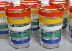 Vintage Federal Glasses Swanky Multi Color Striped Mid Century Retro