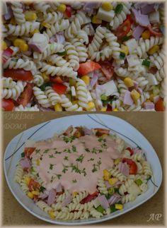 Těstovinový salát se zálivkou   Vaříme doma Pasta Salad, Healthy Snacks, Salads, Rice, Yummy Food, Lunch, Baking, Ethnic Recipes, Nova