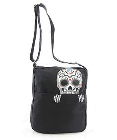 Look at this Sleepyville Critters Peeking Sugar Skull Crossbody Bag on #zulily today!