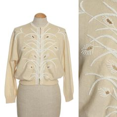 d4cc46f443db4 vintage hand beaded ivory cardigan • 1950s pearl wheat sweater