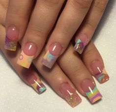 Pastel like colours Fancy Nail Art, Fancy Nails, Trendy Nails, Gold Glitter Nails, Bling Nails, My Nails, Acrylic Nails Coffin Ombre, Encapsulated Nails, Fingernail Designs