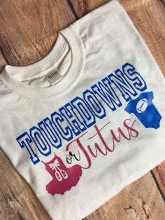 Touchdowns Or Tutus Gender Reveal Shirt Men's Gender Reveal Shirt Touchdown or Tutu Reveal Shirt Pregnancy Announcement Shirt Gender Reveal reveal ideas Gender Reveal Tshirts, Gender Reveal Themes, Gender Reveal Party Decorations, Baby Gender Reveal Party, Gender Party, Pregnancy Announcement Shirt, Pregnancy Shirts, Pregnancy Goals, Pregnancy Photos