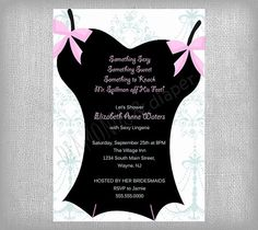 Lingerie Shower Invite but will all her sizes on it too