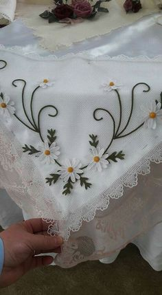 Items similar to French Linen Hand Embroidered Tablecloth Embroidery Flowers Pattern, Embroidery Works, Hand Embroidery Stitches, Silk Ribbon Embroidery, Hand Embroidery Designs, Floral Embroidery, Flower Patterns, Cross Stitch Embroidery, Brazilian Embroidery