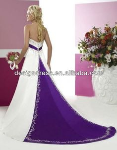 FairOnly 2013 Custom Make Elegant Strapless A-line Purple And White Wedding Dress