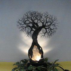 Wire Tree Of Life sculpture, Grove Spirits, Inner Child Quartz Crystal Gemstone Lamp, Wedding, Anniversary, handmade unique gift idea