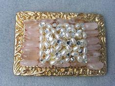 Rose Quartz Statement Belt Buckle, Womens, Freshwater pearls, Rhinestones, Gift for her