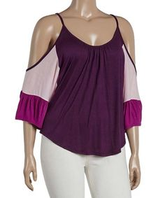 Loving this Eggplant & Burgundy Color Block Ruffle Cutout Top - Plus on #zulily! #zulilyfinds