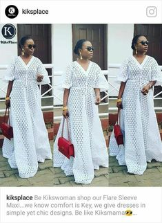 Be Kikswoman shop our Flare Sleeve Maxi.we know comfort is Key, we give dresses in simple yet chic designs. Be like Kiksmama😎 Available to order is sizes.Kindly send a Dm or WhatsApp to place your order. African Maxi Dresses, Latest African Fashion Dresses, African Dresses For Women, African Print Fashion, Africa Fashion, African Wear, African Attire, African Women, African Lace Styles