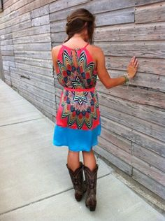 Cowgirl Clad Company - High-Low Blue/Coral Dress, $26.00 (http://www.cowgirlclad.com/high-low-blue-coral-dress/)