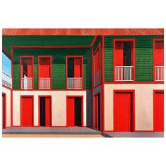 Red Shutters O/C by Cuban artist Emilio Sanchez
