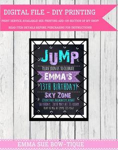 Trampoline party personalized birthday invitation any colors trampoline party personalized birthday invitation digital file filmwisefo