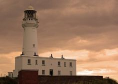Image of Flamborough Lighthouse, Flamborough Head, Yorks., UK. This dates from 1806, the first one, in 1669, was never lit. photo by Sue Wilson.