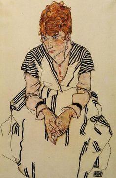 Egon Schiele ~ The Artist's Sister in Law in a Striped Dress, 1917