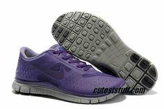 $54.29   Mens Nike Free 4.0 V2 Grey Purple Shoes