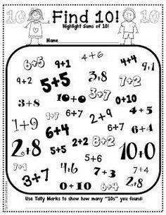 Some Math Freebies First Grade Bloomabilities: Some Math Freebies ~ highlight sums that equal 10 and Math Classroom, Kindergarten Math, Teaching Math, Teaching Spanish, Classroom Decor, Teaching Resources, Math For Kids, Fun Math, Math Activities