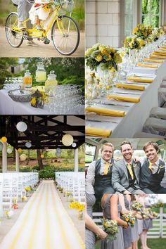 Gelb und Grau Hochzeit rustikal Hochzeitsdekoration Streifen Tischdeko Brautkleider Spitze 2014 Bright Color Outdoor Hochzeit im Sommer Inspiration