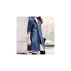 Distressed Long Denim Jacket ($24) ❤ liked on Polyvore featuring outerwear, jackets, women, blue denim jacket, denim jacket, blue jackets, distressed denim jacket and jean jacket