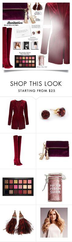 """Dress to Shine"" by zafiaida ❤ liked on Polyvore featuring Aquazzura, Steve Madden, Huda Beauty, Major Moonshine, Louis Vuitton and BaByliss"