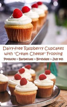Raspberry Cupcakes with Dairy-Free Cream Cheese Frosting: fabulous recipe for celebrations ... 4th of July, birthday parties and potlucks!