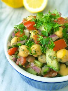 Lebanese Chopped Salad with Chickpeas - The Lemon Bowl #glutenfree #vegan #vegetarian