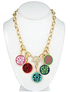 tinytulip.com - Gold Fashion Enamel Monogram Charm Toggle Necklace, $38.50 (http://www.tinytulip.com/gold-fashion-enamel-monogram-charm-toggle-necklace)